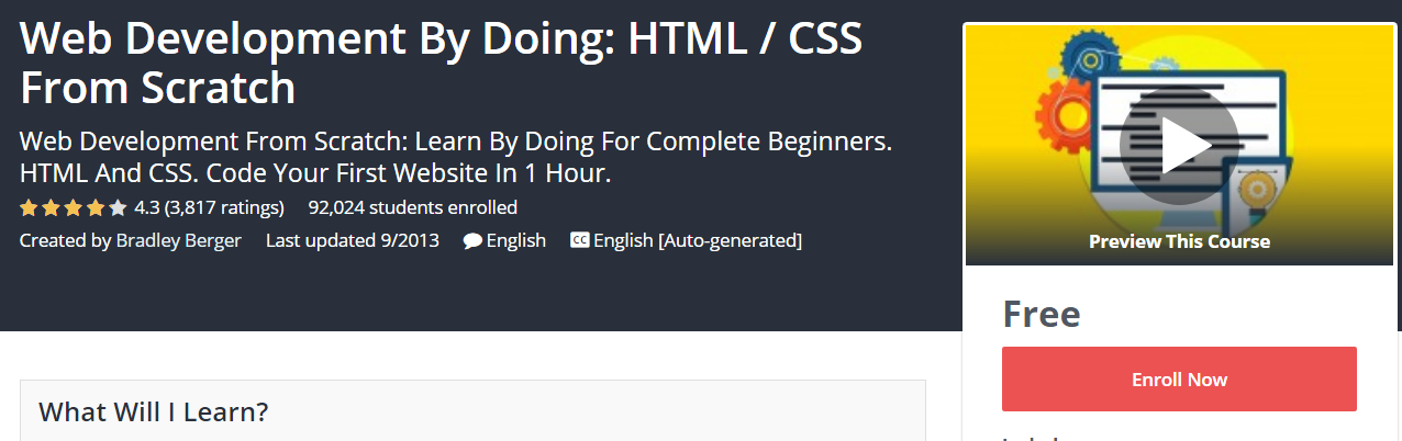 Course Cover For - Web Development By Doing HTML CSS From Scratch