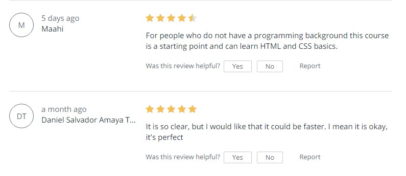 Reviews For - Web Development By Doing HTML CSS From Scratch