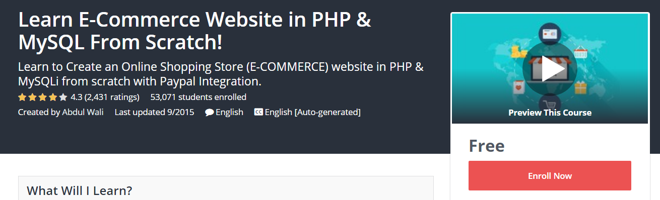 Course Cover For - Learn E-Commerce Website in PHP_MySQL From Scratch!
